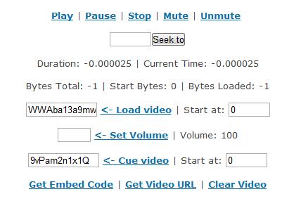 YouTube Embedded JavaScript Player API