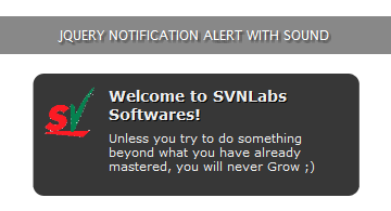 jQuery Notification with Sound Alert | S V N Labs Softwares