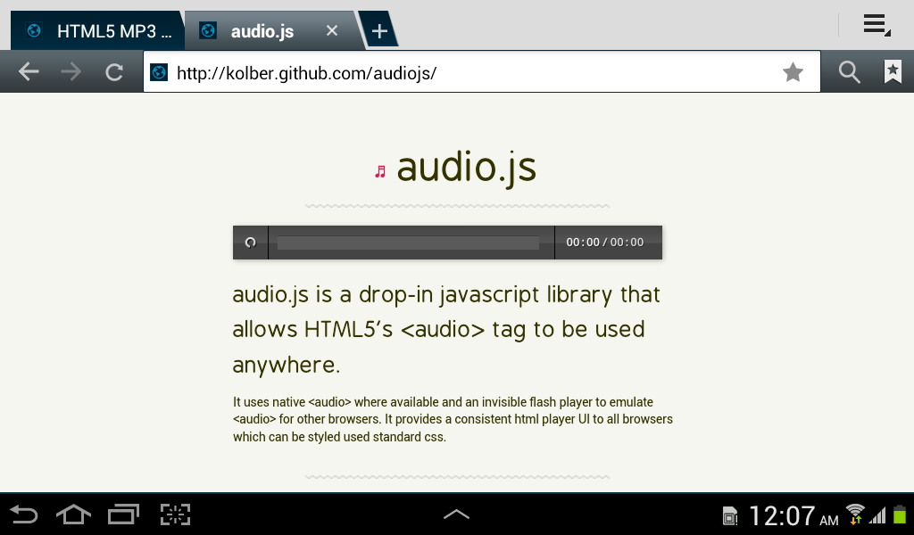 HTML5 Audio Js Duration Buffered