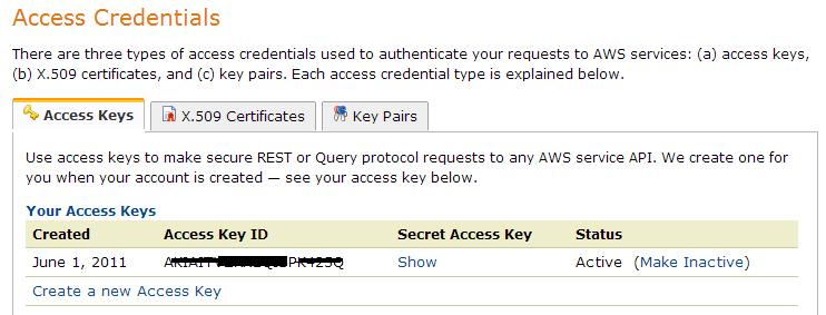 AWS access info