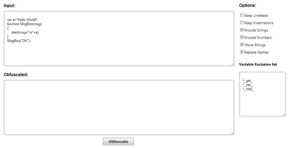 Free Javascript Obfuscator