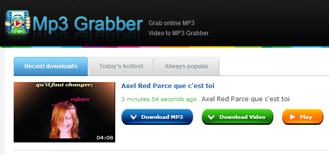 Free MP3 Grabber - search and grab mp3 from YouTube, Dailymotion, MySpace, vevo, imeem, last.fm and many other online resources for free