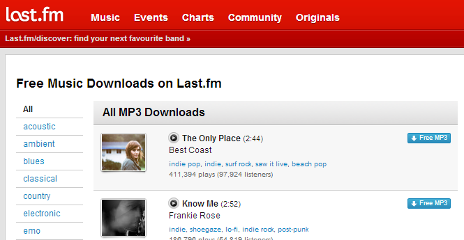 Free Music Downloads – Last.fm