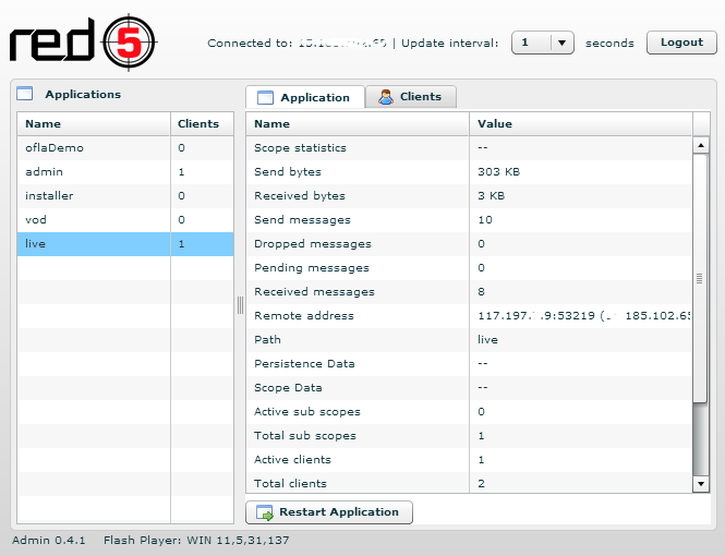 Red5 Admin Panel Live Application